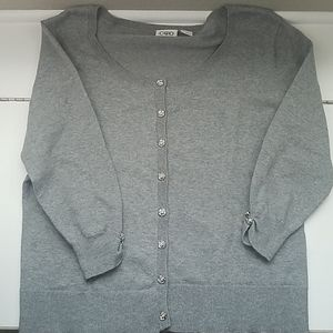 Gray Rosette Cardigan Three-Quarter Sleeves